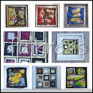 fukreas chambéry - tableaux cousus - petits formats - plastique pvc  - pieces uniques - fait main - caisse américaine - cadres ikea