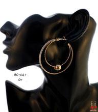 Boucles d'oreilles double anneaux dorés, perle et paillettes