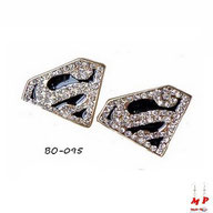 Boucles d'oreilles Superman strass
