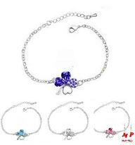 Bracelets trèfles à quatre feuilles argentés cristal bleu, blanc ou rose