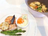 大阪兵庫で家事代行サービスの夕食作りで鮭のソテー野菜添え