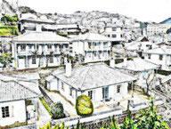 山の斜面、丘陵地にある住宅地