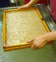 この大きさを漉くのがやっと。大きな和紙を漉く技術は熟練した職人技なしでは無理です。