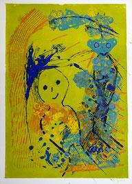 Loslassen: Monotypie, Materialdruck, Zeichnung auf Papier, 55 x 44 cm, 2008