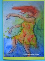Aquarell: Tanzende mit rotem Haar