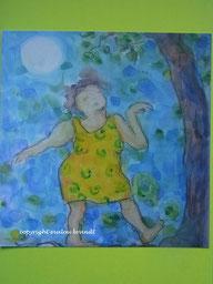 Aquarell Frau tanzt im Mondschein