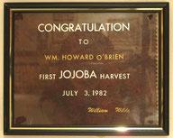♔ 先駆者オブライエンズ御夫妻のホホバによる環境保護と栽培の各賞状