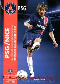 Programme  PSG-Nice  2003-04