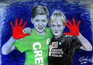 1005  P 1258  Jonas und Moritz, 120 X 85 cm, Farbstift, Carbon, Kreiden, Kohle auf grundierter Leinwand, Augsburg, 20.9.2012 f1