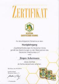 Bild: Zertifikat Honiglehrgang
