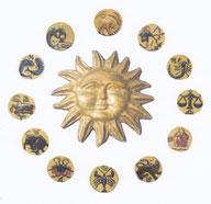 Sonne mit Sternzeichen