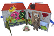 teddy house pattern Tutorial Quiet book Playbook Softbook Activity Touch and feel,  Felt, sewing instructions