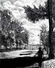真夏の迎賓館 (銅版画・F10)