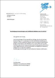 Bescheinigung der Voraussetzungen zum zertifizierten Mediator