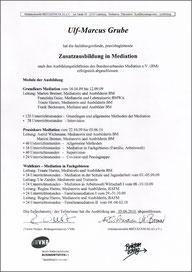 Zertifikat Ausbildung Mediation