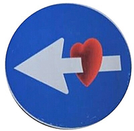 Speciaal verkeersbord: liefde