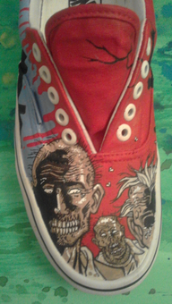 custome made painted shoes The Walking Dead Zombies