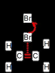 Erster Schritt der elektrophilen Addition mit Brom in Strukturformel.