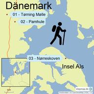 Karte mit den Wanderungen in Dänemark