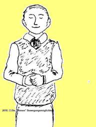 Zeichnung eines Mannes der m Stehen die Augen schließt, und sich auf den Atem konzentriert.