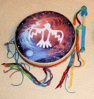 Decorated, painted Hummingbird Drum from Shaman Drums And More