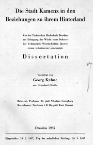 Titelseite der Dissertation von Georg Kühne 1937
