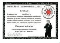 Urkunde zum Pangamut-Instructor (2010)