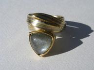 Ring/ Aquamarin/ Gelbgold/ Weißgold