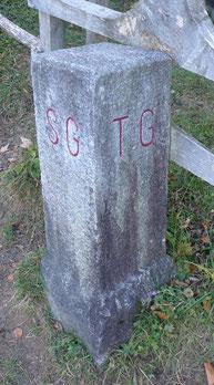 """Grenzstein am """"Dreiländereck"""" TG-SG-ZH am Nordgrat des Hörnli"""