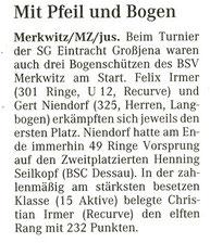 Artikel - Turnier der SG Eintracht 2006 in Großjena