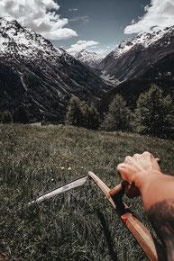 Berg, Bergbauer, Farmer, mountain, Sense, mähen. Sommer