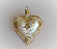 Christbaumkugel aus Glas Herz creme-gold 3,50 €