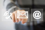 logos téléphone, email, arobase