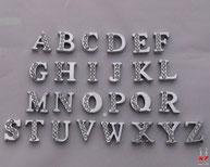 Lettres argentées et strass