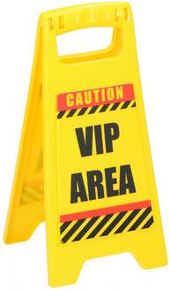 Waarschuwingsbord VIP Area €1,95 ca. 12x25cm