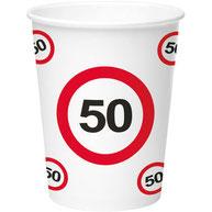 Bekers 50 Verkeersbord €2,95 8stuks