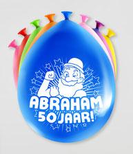 Party ballonnen Abraham 50 jaar!     8 stuks € 2,25