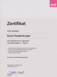 Lymphologie II Zertifikat Karin Kautenburger