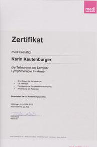 Lymphologie I Zertifikat Karin Kautenburger