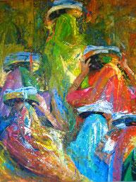 """""""Die Farbe Indiens"""" 120x100 Öl auf Leinwand"""