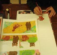 絵本塾課題、小さな絵本の原画制作の風景