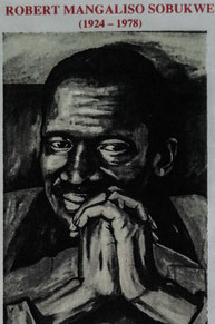 Robert Mangaliso Sobukwe information sheet from a museum, with painting of him. South Africa