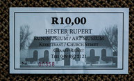 Picture of the ticket to the art museum in Graaff-Reinet, South Africa.