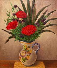 赤い花 (油彩・F12)