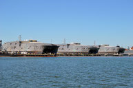 USNS 'Spearhead' (T-EPF-1), USNS 'Choctaw County' (T-EPF-2) and USNS 'Fall River' (T-EPF-4)