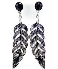 boucle d'oreille pendante plume gipsy argent antique et noir
