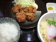 唐揚げセット(うどん半玉)