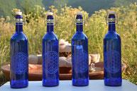 Bouteille en verre bleu cobalt de 2L , bouteille bleue, fleur de vie, Emoto, eau solarisée, solarisation