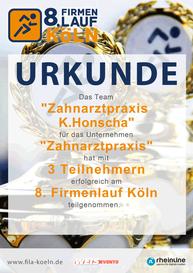 Urkunde 8. Firmenlauf in Köln für das Team der Zahnarztpraxis Honscha