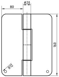 Paumellenband GLUTZ, Lappen 160x80 mm